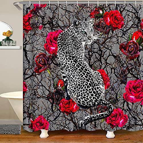 Loussiesd Leopard Stoff Duschvorhang Textil Panther Gepard Duschvorhang 180x200cm für Kinder Rose Zweige Bedruckt wasserdicht mit 12 Haken Wsafari Wild Tier Dekore