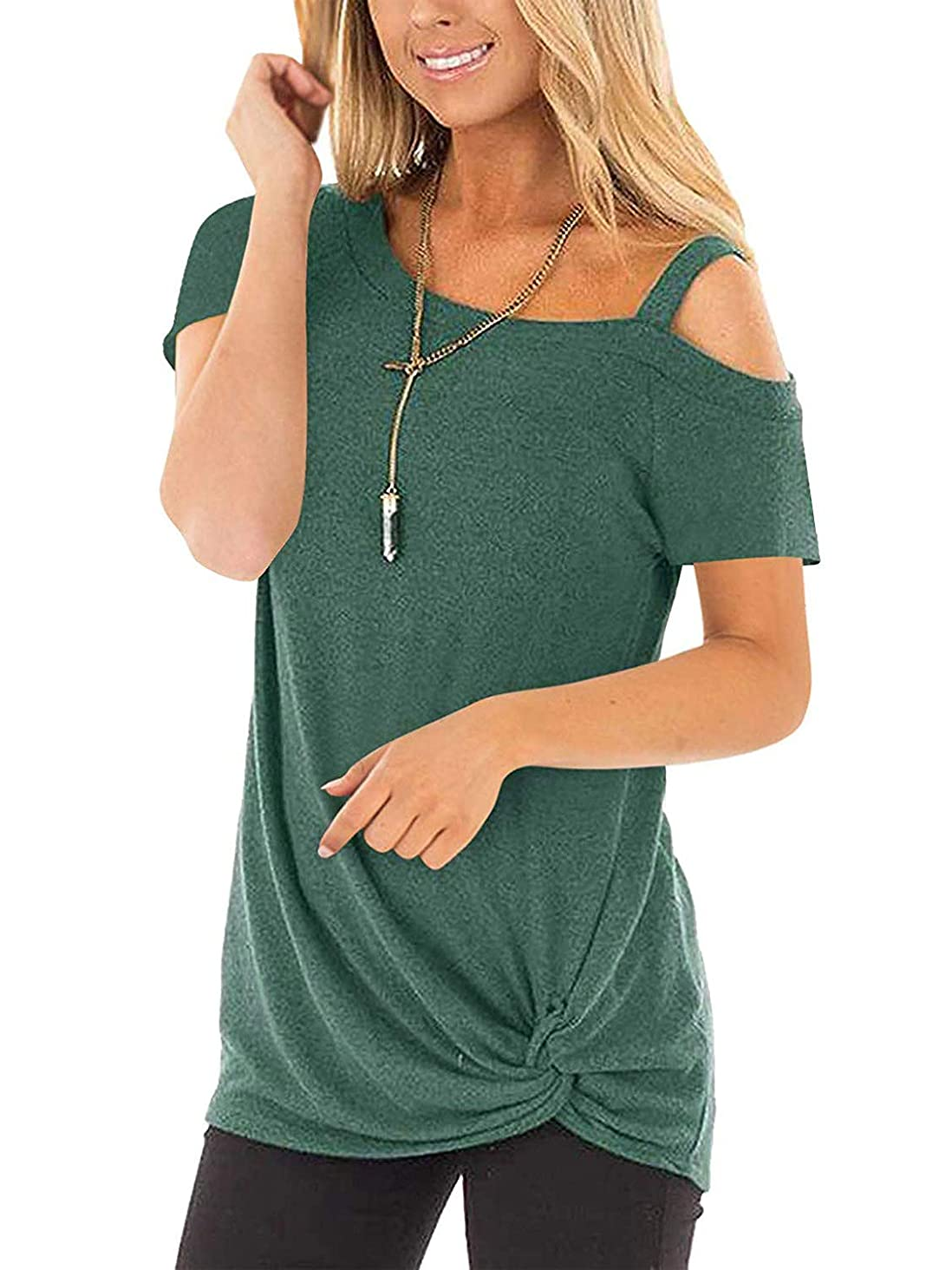 Yidarton Women's Comfy Casual Short Sleeve Side Twist Knotted Tops Blouse Tunic T Shirts