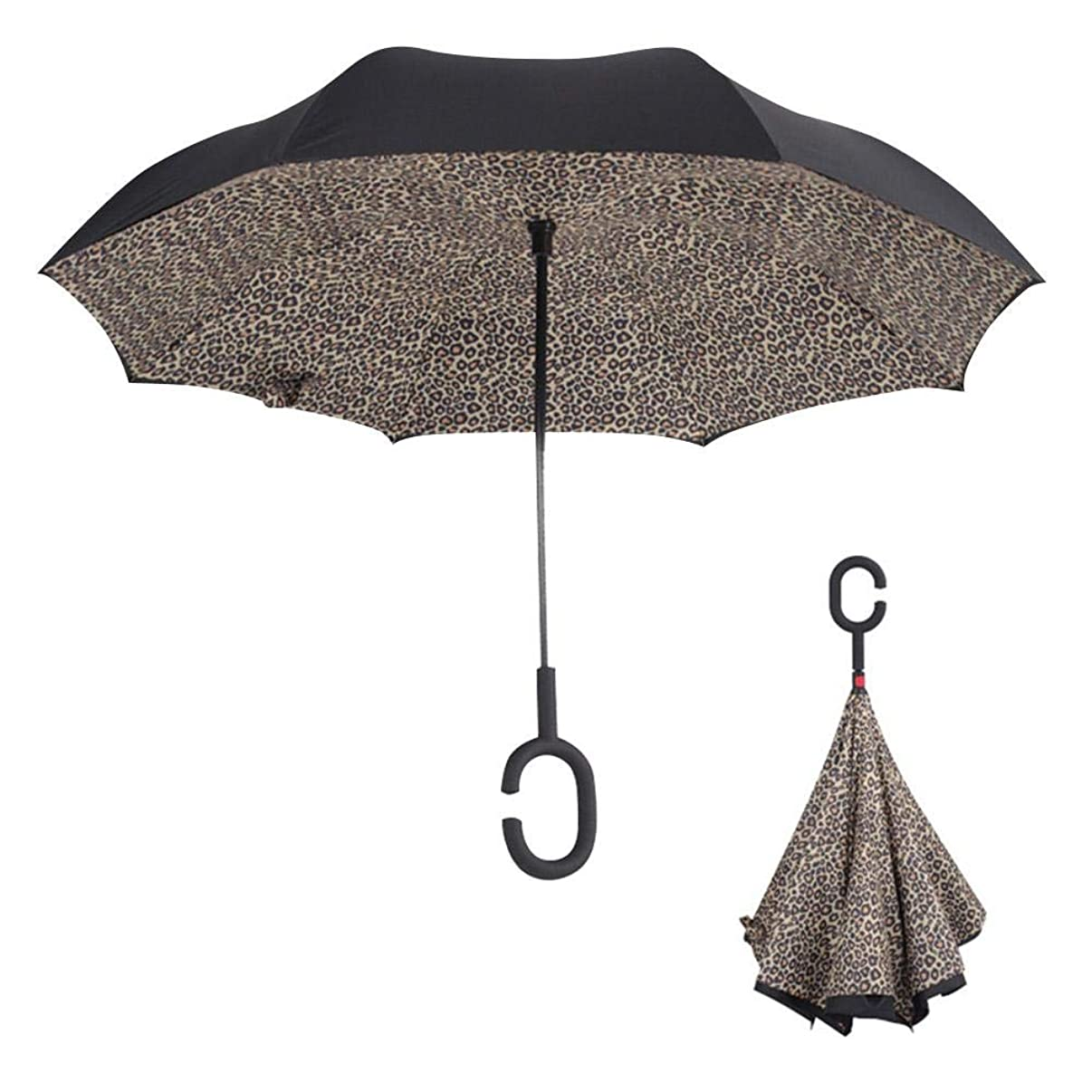 total-shop Umbrella Reverse Double-Layer Reverse Umbrella Straight Rod Car with Uv Protection Weatherproof Windproof Umbrella for Women Upside Down Umbrella with c-Shaped Handle