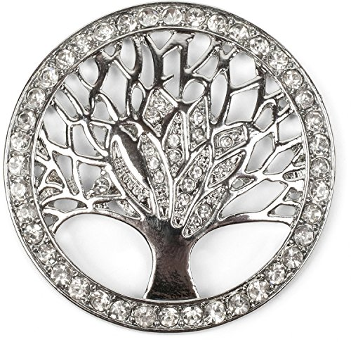 styleBREAKER Tree of Life Magnetic Jewellery Pendant for Scarves, Shawls or Ponchos with Rhinestones, Brooch, Ladies 05050029, Color:Silver