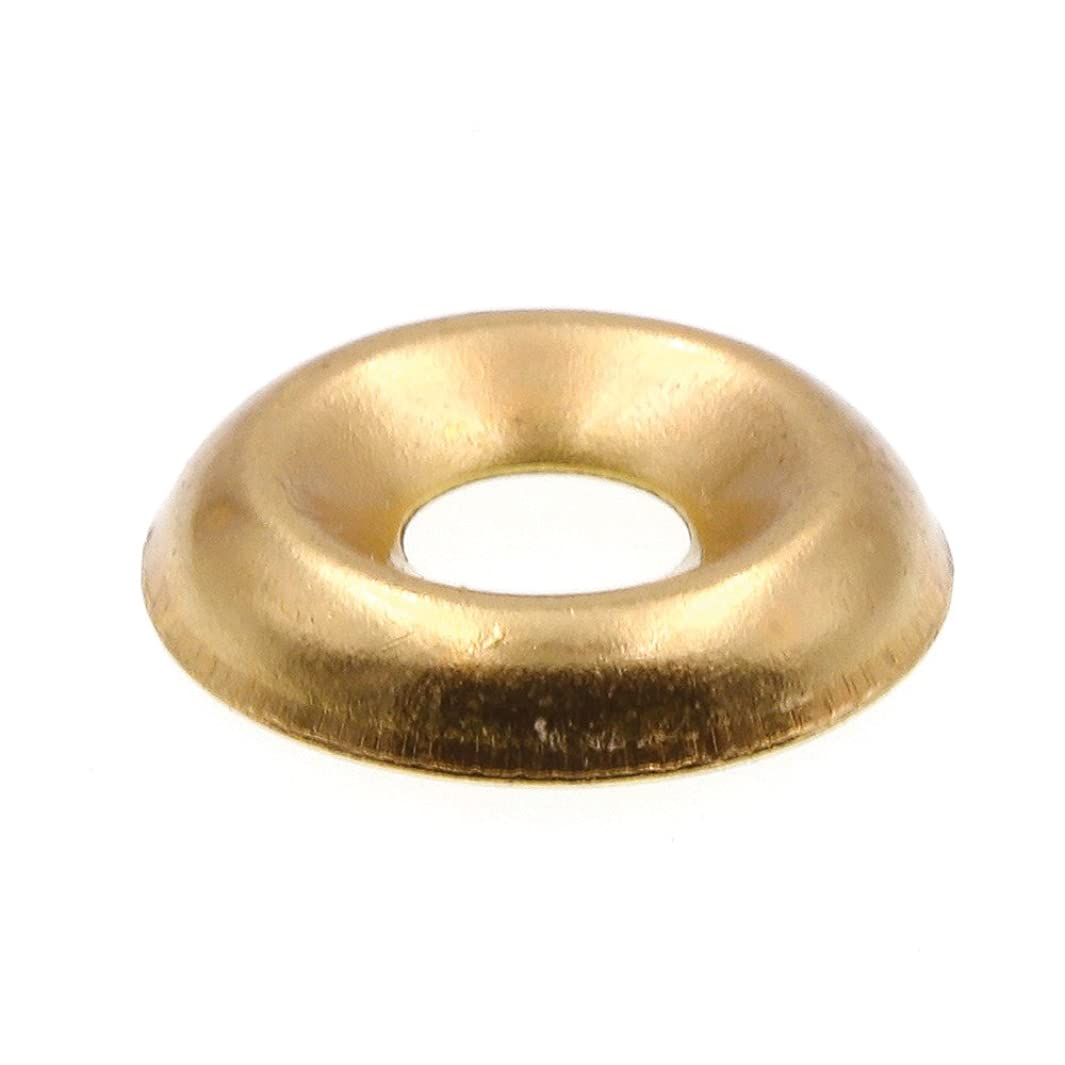 Prime-Line 9083654 Finishing Washers, Countersunk, #8, Brass Plated Steel, 50-Pack