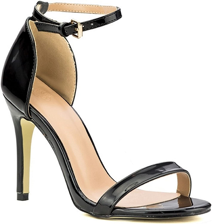 Beast Fashion Alyssa-01 Open Toe Shiny Patent Ankle Strap Stiletto Heel Black