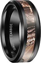 Queenwish 8mm Black Tungsten Carbide Ring Camo Camouflage Hunting Wedding Band Size 6-13