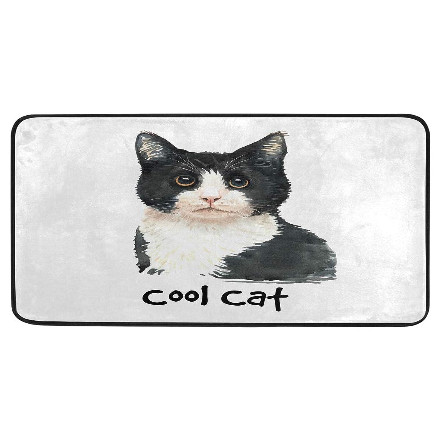 ボランティア迷彩ライバルキッチンマット 廊下マット 台所マット 玄関マット 可愛い ネコ 洗える 滑り止め 抗ピリング すべり止め