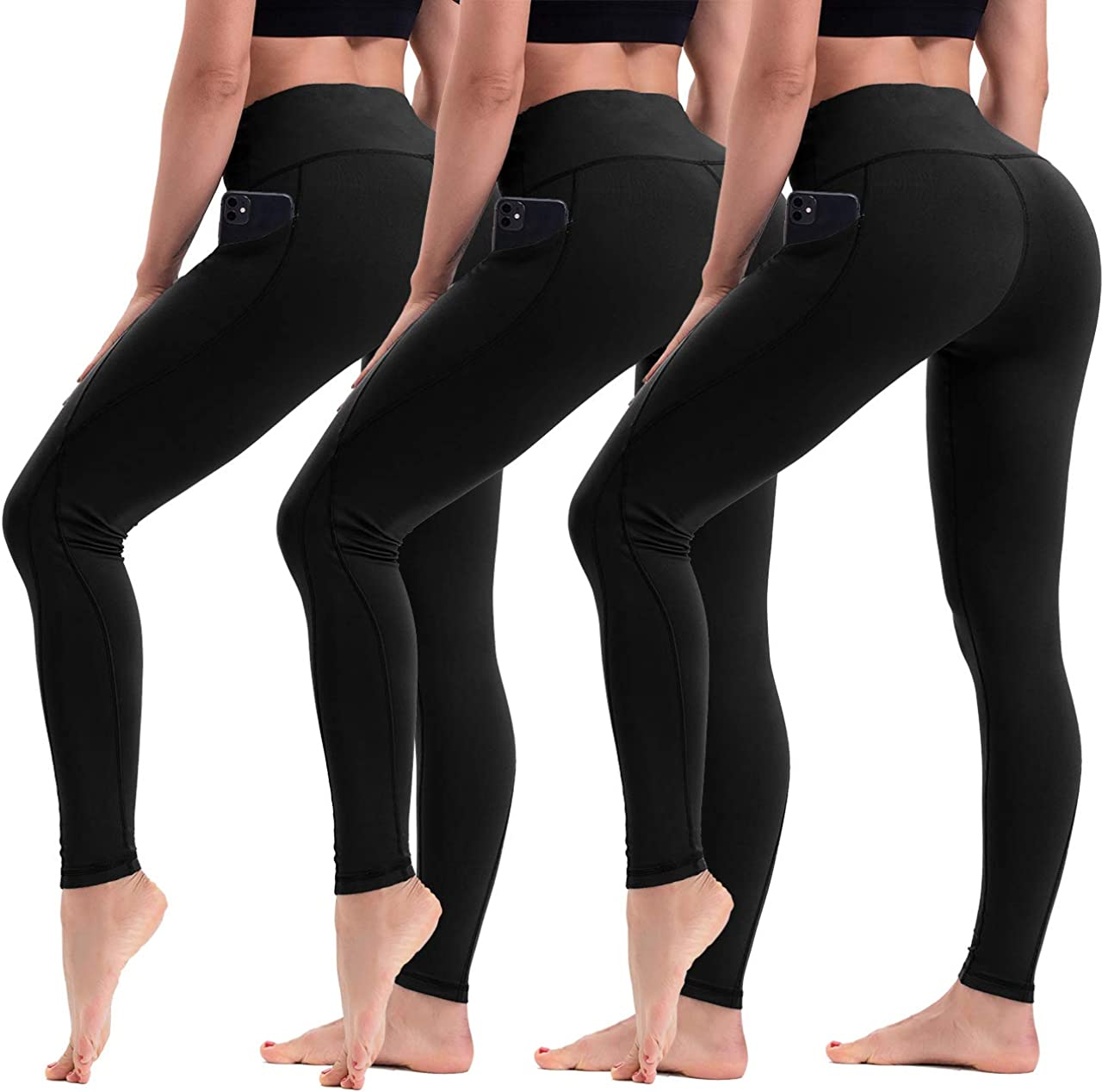 - Non See Through Yoga Pants for Workout 3 Pairs HLTPRO High Waist Yoga Leggings with Pockets for Women Running
