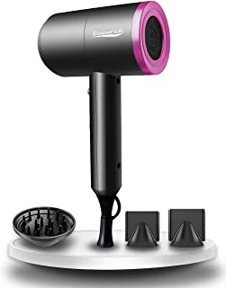 Hair Dryer Ionic, Elegant Life 1800W Professional Blow Dryer Built-in Powerful AC Motor, 3 Heating/2 Speed/Cold Settings, with 2 Nozzles and 1 Diffuser, for Home Salon Travel Pregnant Kid