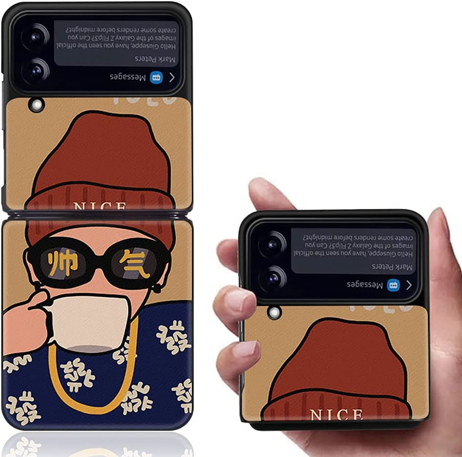 Yatchen Luxury Leather Case Apply to Samsung Galaxy Z Flip 3,Cute Pretty Landscape Painting for Women Dermatoglyph +Hard PC Bumper Flip Protector for Galaxy Z Flip 3 5G 2021 (Boy)