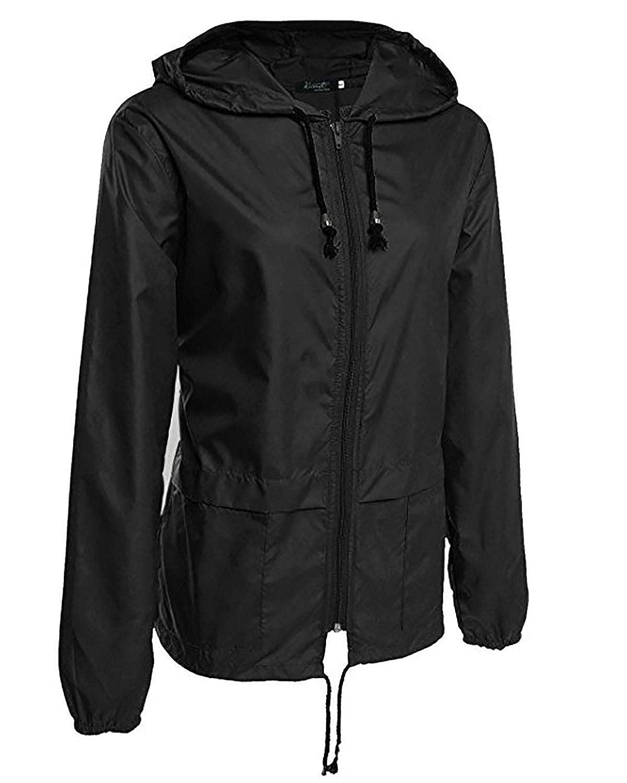 CAFUTY レディースジャケットレインコートフード付きサンスクリーン防水ウインドブレーカー屋外ジッパーレインコート (Color : ブラック, サイズ : M)