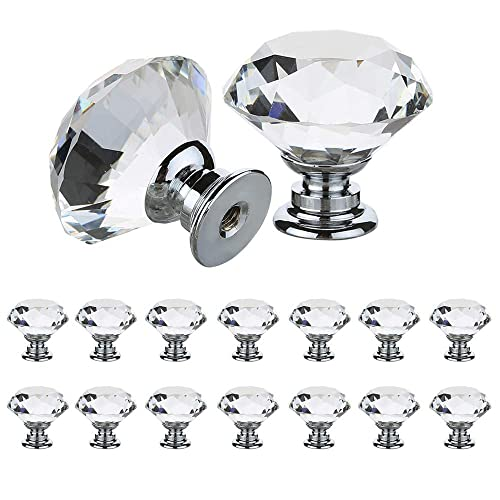 SOLID GLASS CRYSTAL BALL PULL HANDLE Small Kitchen Drawer Clear Door Knob 32mm