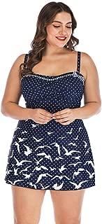 Plus Size Swimsuit,Swyss Bird and Dot Printed Swimwear Swimdress with Triangle Bottom Beachwear