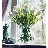 20 Stück Tulpe künstliche Blume Latex Real Touch Bridal Wedding Bouquet Home Decor (Weiß) - 4