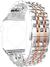 ImmSss Band Compatible for Apple Watch Series 5 4 40mm 44mm / Series 3 2 1 38mm 42mm for Women Men,Stainless Steel Band for Iwatch Replacement Strap