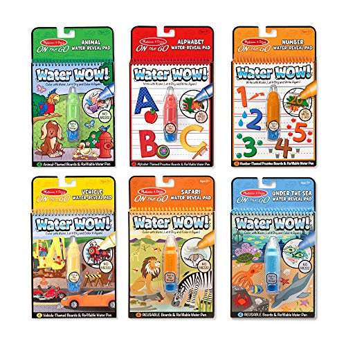 Melissa & Doug On the Go Water Wow! 6-Pack (The Original Reusable Coloring Books - Alphabet, Number, Safari, Vehicle, And More - Great Gift for Girls & Boys - Best for 3, 4, 5, 6, and 7 Year Olds)