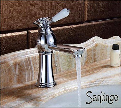 Serie AIKO Retro Bad Waschbecken Waschtisch Einhebel Armatur Wasserhahn Chrom Sanlingo