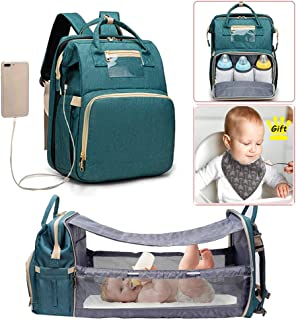 Diaper Bag Backpack with Changing Station Baby Diaper Bags for Baby Travel Waterproof Mommy Bag with Bassinet Bed Mat Pad ...