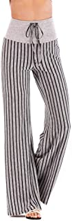 ZEFOTIM Women Striped High Waist Elastic Loose Wide Leg Trousers Dancing Yoga Pants