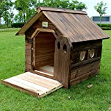 Outdoor Dog Kennel Wooden Dog House, Extra Large Insulated Wood Dog Kennel Pet House Shelter Wooden Animal Hut Robust, Eco-Conscious Wood with Holes Breathable,XXL
