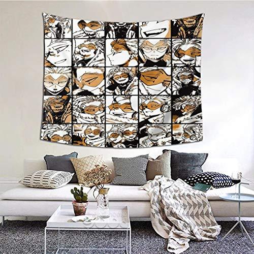 ANNBITION My Hero Academia Collage Anime Bnha Tapiz de pared para colgar en la pared, diseño de halcones con decoración del hogar para sala de estar, dormitorio, decoración de dormitorio150 x 150 cm