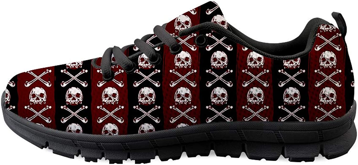 Owaheson Lace-up Sneaker Training shoes Mens Womens Poisonous Pirate Skulls Stripes