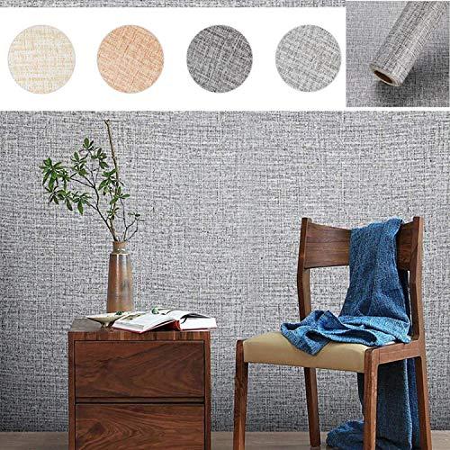 KINLO zelfklevend behang waterdicht muurbehang met zijdedraadpatroon 0,61 * 5M muursticker zelfklevende film voor woonkamer TV achtergrond muur (donkergrijs)