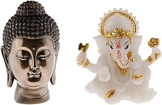 Baoblaze 2pcs Indian God Elephant Buddha Figurines & Buddha Head Meditation Ornaments