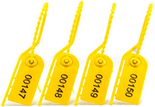 1000 Safety Pull Ties Tamper Proof Election Tag Numbered Self-Locking Tear Off Plastic Security Seals (Yellow)