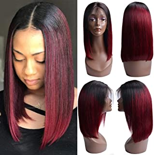 Ombre Bob Wigs Dark Roots Straight Bob Wigs for Black Women Middle Part Glueless Lace Front Wig with Baby Hair Two Tone Black/Burgundy Color Brazilian Human Hair Wigs 14inch 1B/99J