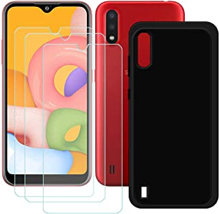 TTJ Svart skal till Samsung Galaxy M01S [3 st] HD pansarglas, mobiltelefonfodral silikon skyddande skydd TPU-fodral mobilv...