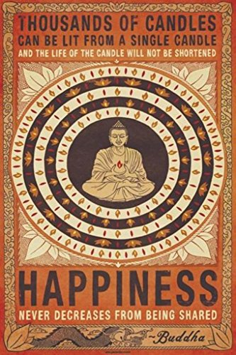 Pyramid America Thousands of Candles Buddha Happiness Quote Motivational Cool Wall Decor Art Print Poster 24x36