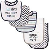 Luvable Friends Unisex Baby Bib and Burp Cloth Set, Boy Thank Heaven, One Size