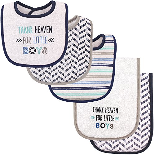 Luvable Friends Unisex Baby Bib and Burp Cloth Set, Boy Thank Heaven, One Size