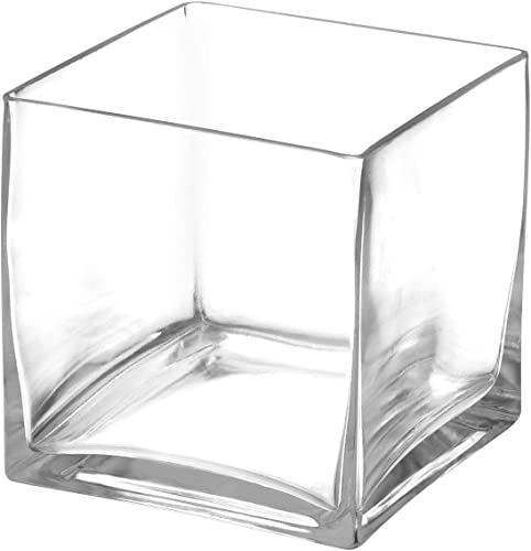 """wholesale Royal new arrival Imports Flower Glass Vase Decorative Centerpiece for Home or Wedding Clear lowest Glass, Cube Shape, 5"""" Tall, 5""""x5"""" Opening outlet sale"""