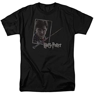 Harry Potter Harry'S Wand Portrait Mens Short Sleeve Shirt (Black, Medium)