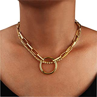 Women Double-Layered Shining Crystal Rhinestone Choker Necklace Statement Necklaces with Ring Pendant for Women Nightclub ...