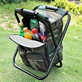 Sisliya Upgraded Large Size 3 in1 Multifunction Fishing Backpack Chair, Portable Hiking Camouflage...