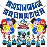REYOK Sonic Décoration de Fête d'anniversaire Décoration Ensemble de Drapeaux Joyeux Anniversaire avec Ballons Bannière Cartes de gâteau Soirée à Thème de Jeux Vidéo Animés Hérisson pour Les Enfants