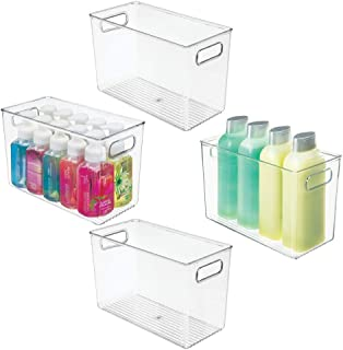 mDesign Slim Plastic Storage Container Bin Box with Carrying Handles - Bathroom Cabinet Organizer for Toiletries, Makeup, Shampoo, Conditioner, Face Scrubbers, Loofahs, Bath Salts, 4 Pack - Clear