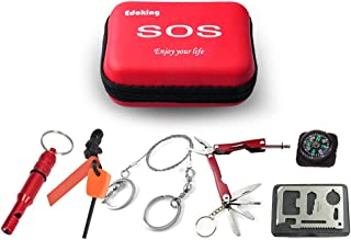 Edoking Compact Survival Kit, Camping Tools SOS, Multi Functional Pocket Tool, Including Flashlight, Wire Saw, Fire Starter, Emergency Whistle, Knife in Sturdy Soft Case