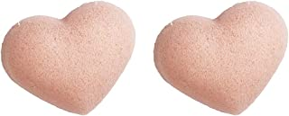 D DOLITY Pack of 2pieces, Konjac Heart-shaped Facial Sponges, Gently Cleans for Softer More Radiant Skin, Face Exfoliating Scrub Cleanser Puff for Men Women