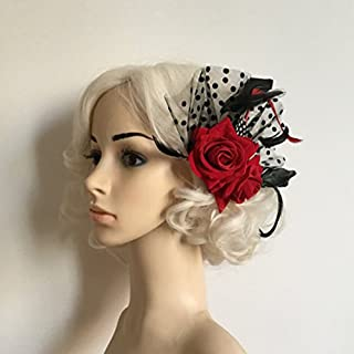 Tinksky Feather Headpiece Flower Hairband Headband Bridal Fascinator Red Rose Flower Dots Hair Clips Headwear Wedding Supplies Fancy Dress Party Dress-up Accessories, Mother's Day Christmas Gift (Red)