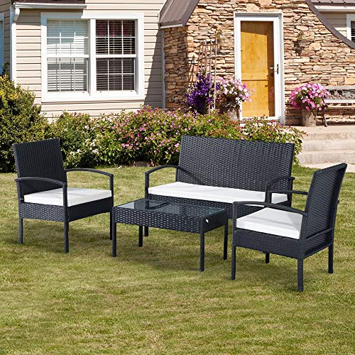 EBS My Furniture 4 Piece Rattan Garden Patio Outdoor Furniture Set White Cream Cushion Sofa, 2 Chairs, Conservatory Glass Top Table - Black