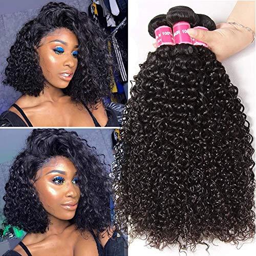 Klaiyi Hair 10A Brazilian Curly Hair Weave 3 Bundles 8 10 12Inch Virgin Human Hair Extensions Unprocessed Natural Color 95-100g/pc