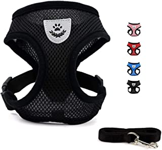 Cutefriend Pet Vest Harness for Small Dogs and Cats, with Leash, Breathable Mesh Pet Leash Collar, Comfortable & Adjustable, 3 Size and 4 Color for Selection