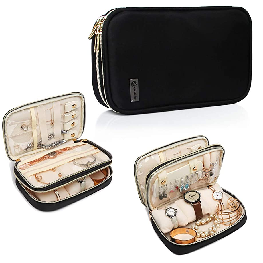 Q-smile Travel Jewelry Case Jewelry Organizer Bag Double Layer Storage Carrying Pouch Holder for Necklaces, Earrings, Bracelets, Rings, Watch and More,Compact and Portable (Black, Medium)