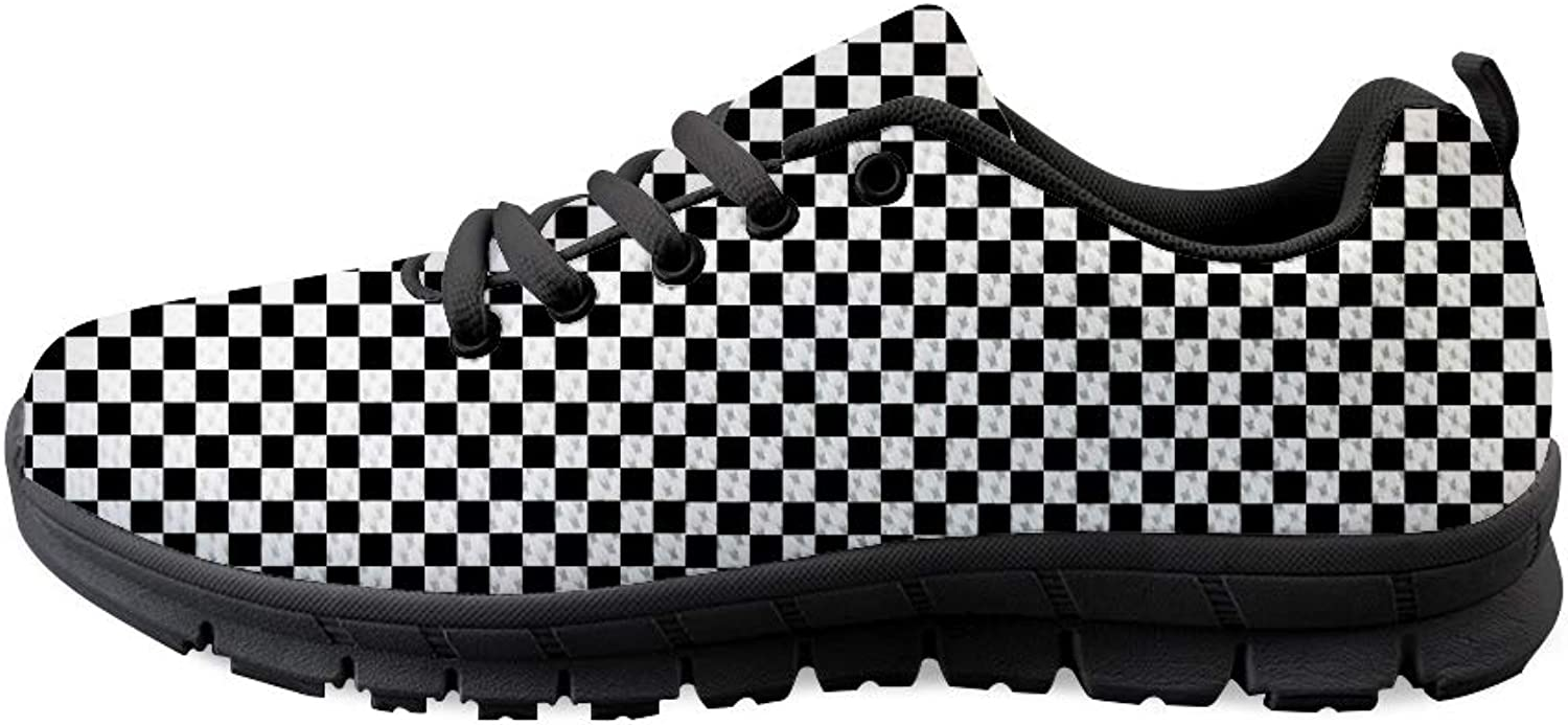 Owaheson Lace-up Sneaker Training shoes Mens Womens Checkerboard Checkered Flag