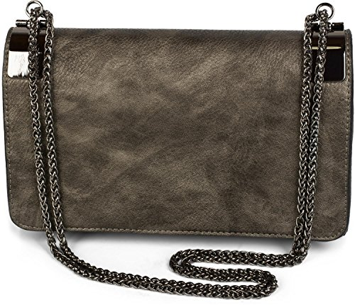 styleBREAKER Clutch, Abendtasche mit Metallspangen und Gliederkette, Vintage Design, Damen 02012046, Farbe:Antik-Dunkelgrau