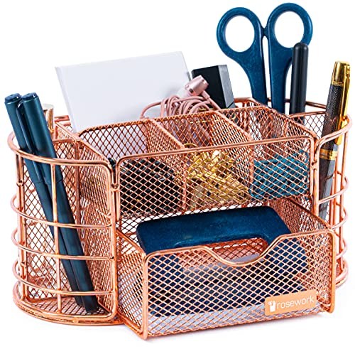 Rosework Rose Gold Pen Holder - Desk Organizer For Desk, All In One Mesh Pen Organizer, Comes with Desk Drawer, Pen Holder and Pencil Holder, Great For Home Office And Rose Gold Desk Accessories