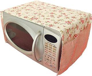 【ピンク・花柄】生活雑貨 収納雑貨 インテリア 布製 レンジカバー ガード 電子レンジカバータオル 防塵マット 両側に収納袋付き 実用的(100*35cm)