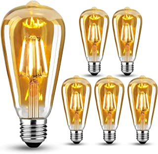 Edison Vintage Glühbirne E27, LED Vintage Glühbirne Warmweiß LED Lampen, Vintage Antike Glühbirne E27 4W ersetzt 40W,Retro glühbirne Ideal für Nostalgie und Retro Beleuchtung, 6 Stück