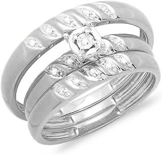 مجموعة دازلنغ روك 0.05 قيراط (قيراط) ذهب 10K مجموعة خواتم خطوبة ثلاثية للعروس للرجال والنساء